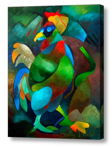 Morning Rooster, abstract art painting print on canvas by Sally Trace, side view