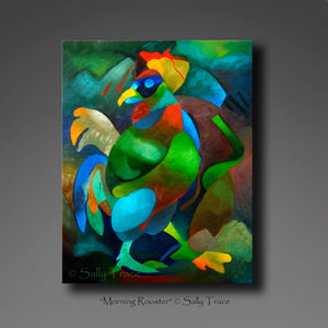 Morning Rooster, abstract art painting print on canvas by Sally Trace