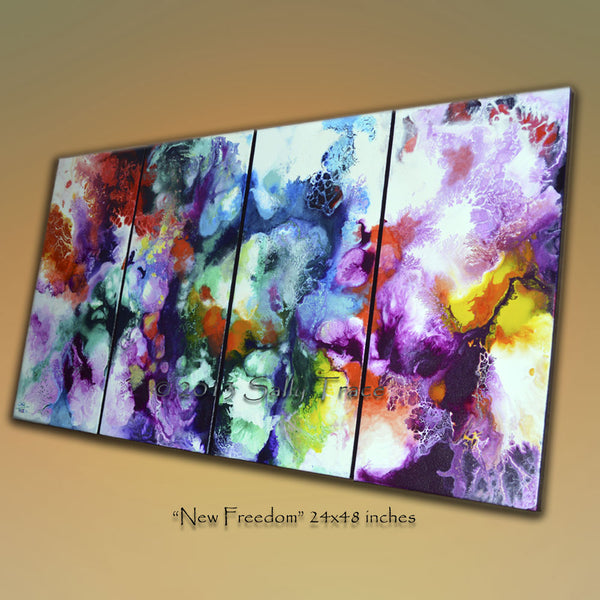 New Freedom, four canvas giclee prints from the original abstract painting by Sally Trace