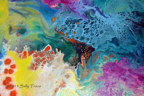 New Life, abstract art painting prints on sale from Sally Trace, close up