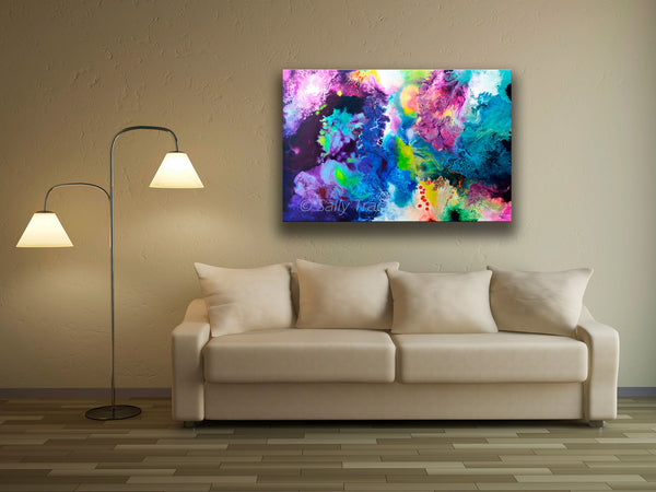 New Life, abstract art painting prints on sale from Sally Trace, room view