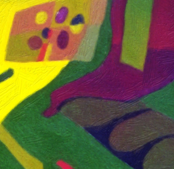 Olive Suspension by Sally Trace, mid century modern, color field, object on field abstract painting print, detail