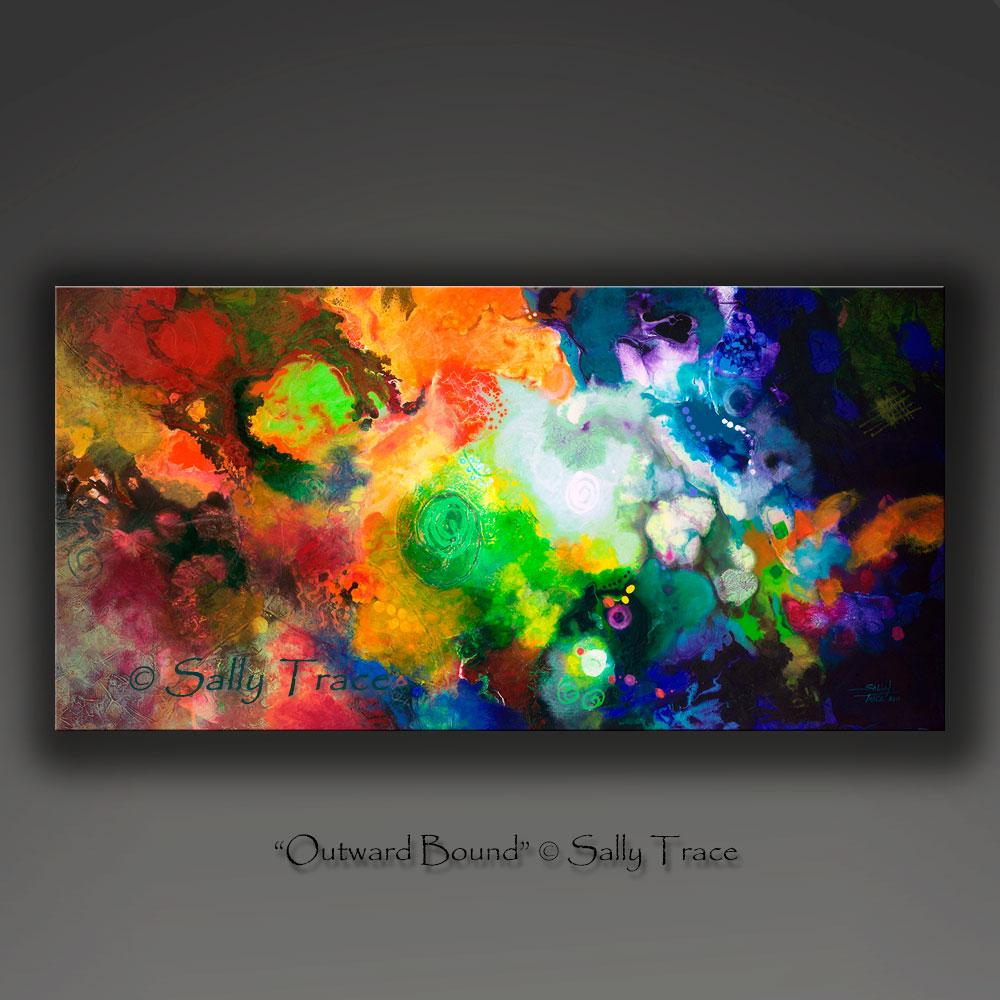 Outward Bound, fluid space art nebula painting giclee print on canvas by Sally Trace