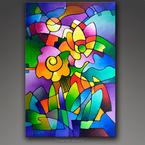 Pinwheel Blooms, modern contemporary geometric floral abstract painting print by Sally Trace