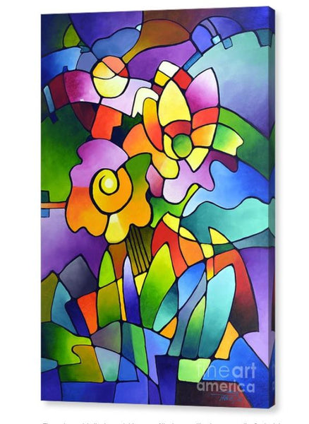 Pinwheel Blooms, modern contemporary geometric floral abstract painting print by Sally Trace, side view