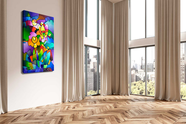 Pinwheel Blooms, modern contemporary geometric floral abstract painting print by Sally Trace, room view