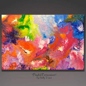 Playful Persuasion, original abstract fluid painting by Sally Trace
