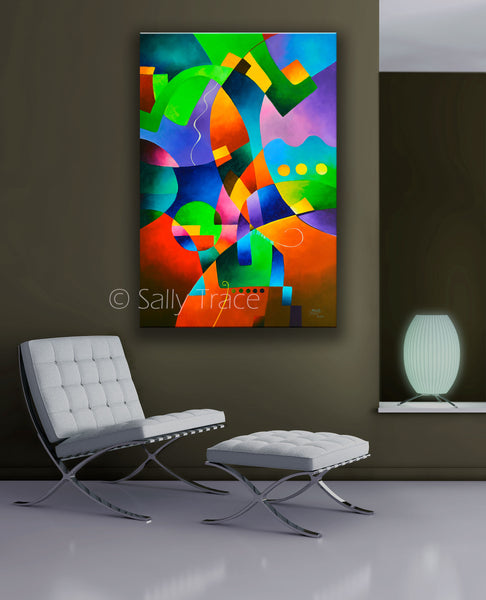Modern abstract art print for sale by Sally Trace, hard-edged geometric abstract fine art print