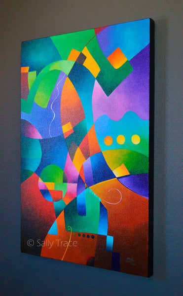 Reveur, Hard-Edge Abstraction Original Colorful Geometric Painting for sale by Sally Trace