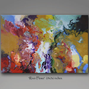 River Flows abstract art painting print by Sally Trace
