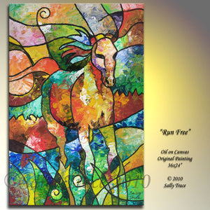 Run Free, original palette knife abstract equine painting by Sally Trace