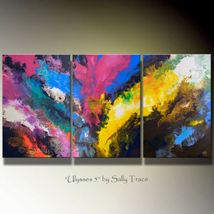 Ulysses on the Water, Original Fluid Triptych Painting, Sold