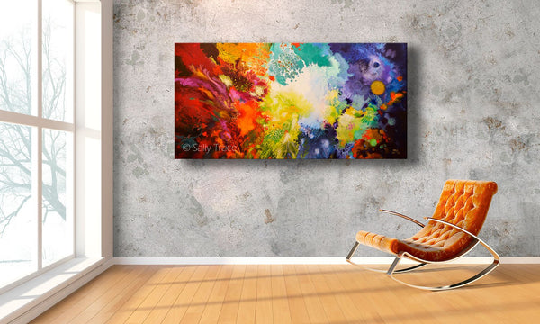 Harmonic Vibrations, fluid art giclee print for sale made from the original acrylic pour painting, room view