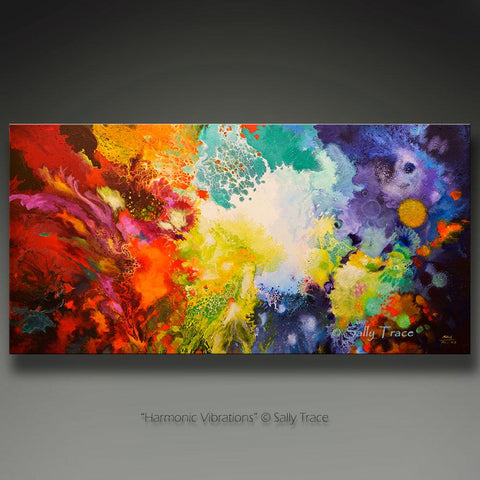 Harmonic Vibrations, fluid art giclee print for sale made from the original acrylic pour painting