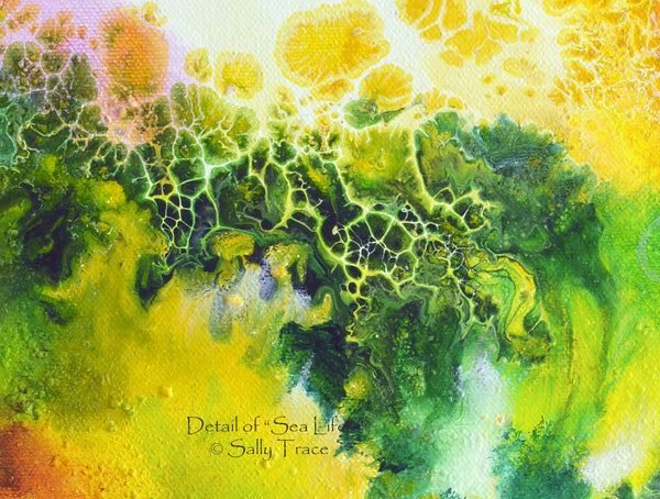Sea Life, marine ocean abstract fluid art painting print by Sally Trace, detail