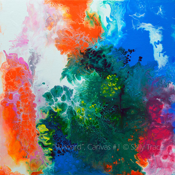 Skyward, contemporary modern art prints for sale by Sally Trace, canvas one