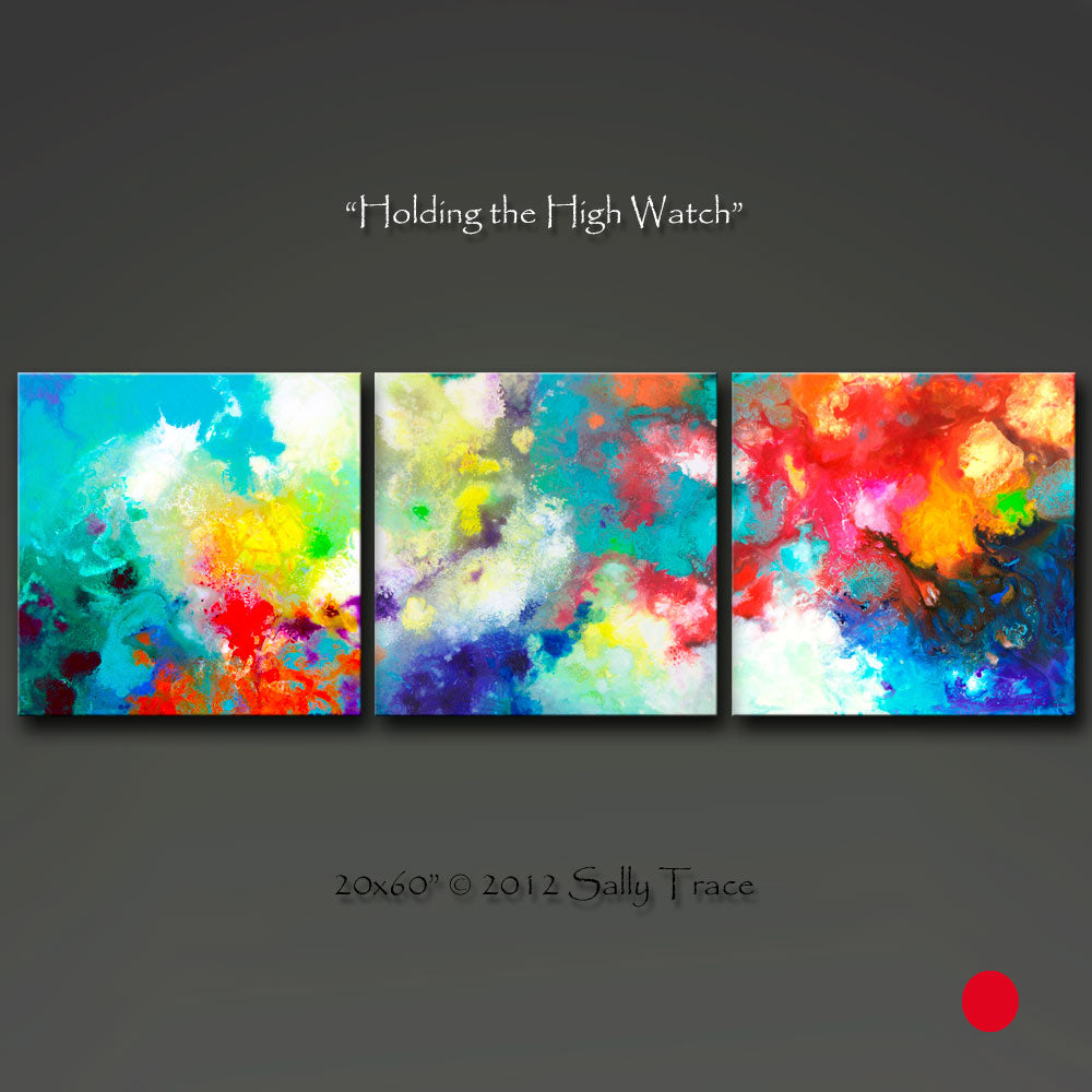 Holding the High Watch, modern contemporary triptych abstract print set by Sally Trace