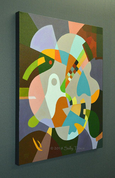 """Sometimes you Just get Lucky"" geometric hard-edged original acrylic painting by Sally Trace"
