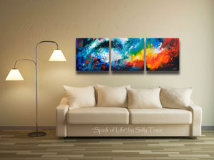 Modern fluid art painting print giclee triptych set for sale by Sally Trace