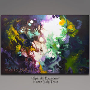 Splendid Expansion original abstract pour painting by Sally Trace