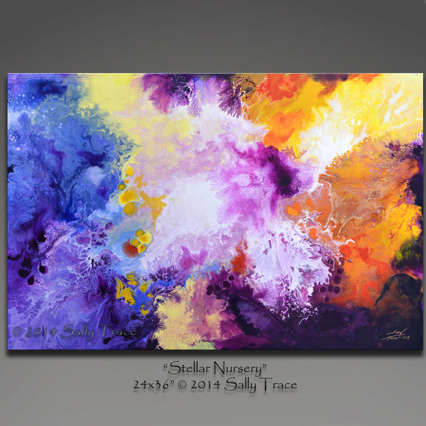 Stellar Nursery, giclee prints from my abstract, fluid original painting by Sally Trace