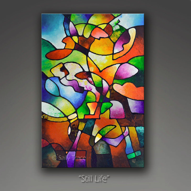 "Geometric absrtact art fo sale by Sally Trace ""Still Life"""