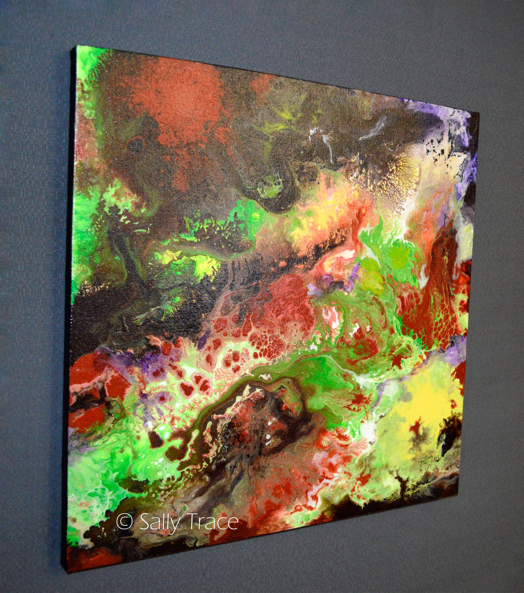 Strata, original fluid painting by Sally Trace, side view