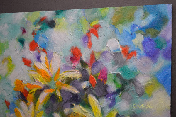"Original abstract textured painting by Sally Trace ""Summer Sweetness"" detail"