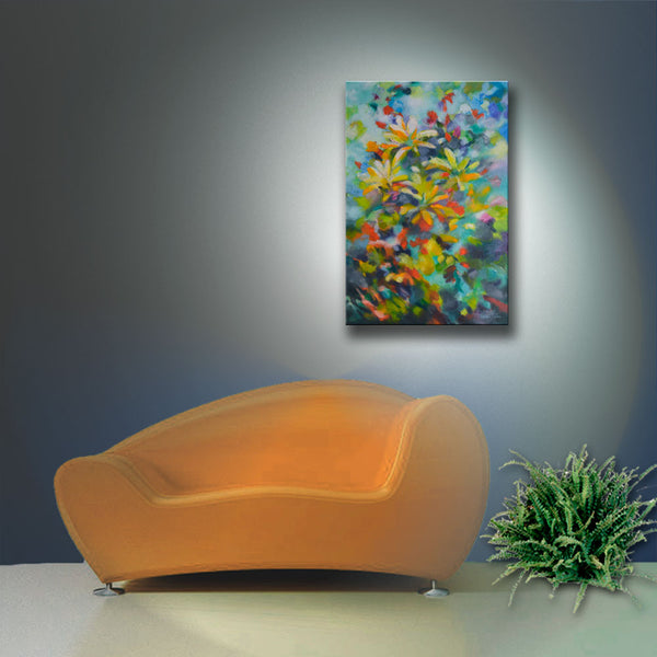 "Original abstract textured painting by Sally Trace ""Summer Sweetness"" room view"