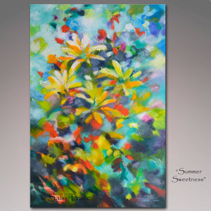 "Giclee prints on canvas from the original abstract textured painting by Sally Trace ""Summer Sweetness"""