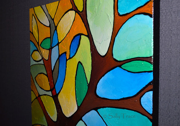 Summer Tree, a textured geometric abstract tree painting by Sally Trace