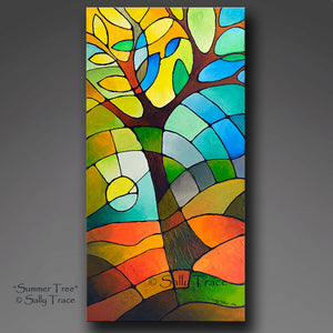 """Summer Tree"" Giclee Prints from my original abstract geometric tree painting"