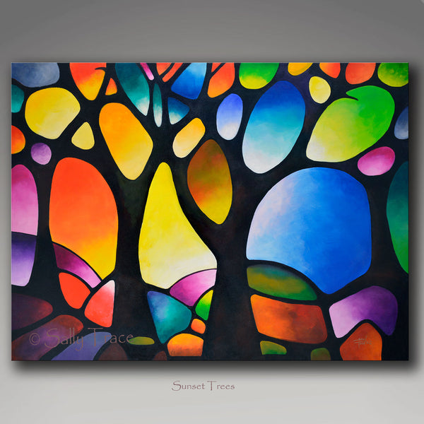 "Modern art abstract painting for sale ""Sunset Trees"" by Sally Trace"