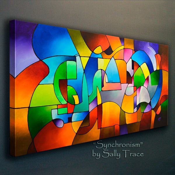 Synchronism, geometric art painting print on canvas by Sally Trace