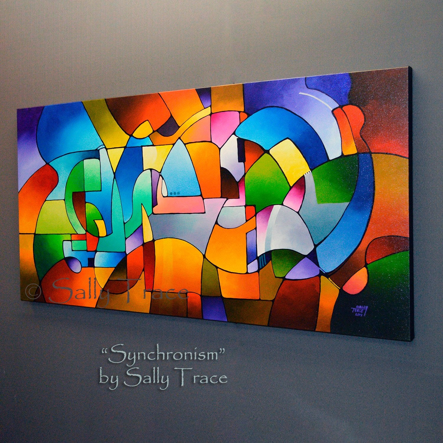 Synchronism Original Geometric Painting by Sally Trace. side view