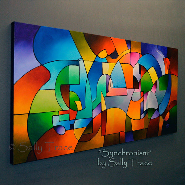 Synchronism, original geometric acrylic on canvas painting by Sally Trace