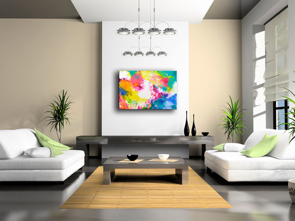 """Take it Away"" original abstract fluid painting by Sally Trace, room view"