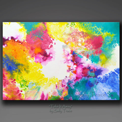 "Fluid art modern abstract painting prints for sale by Sally Trace ""Take It Away"""