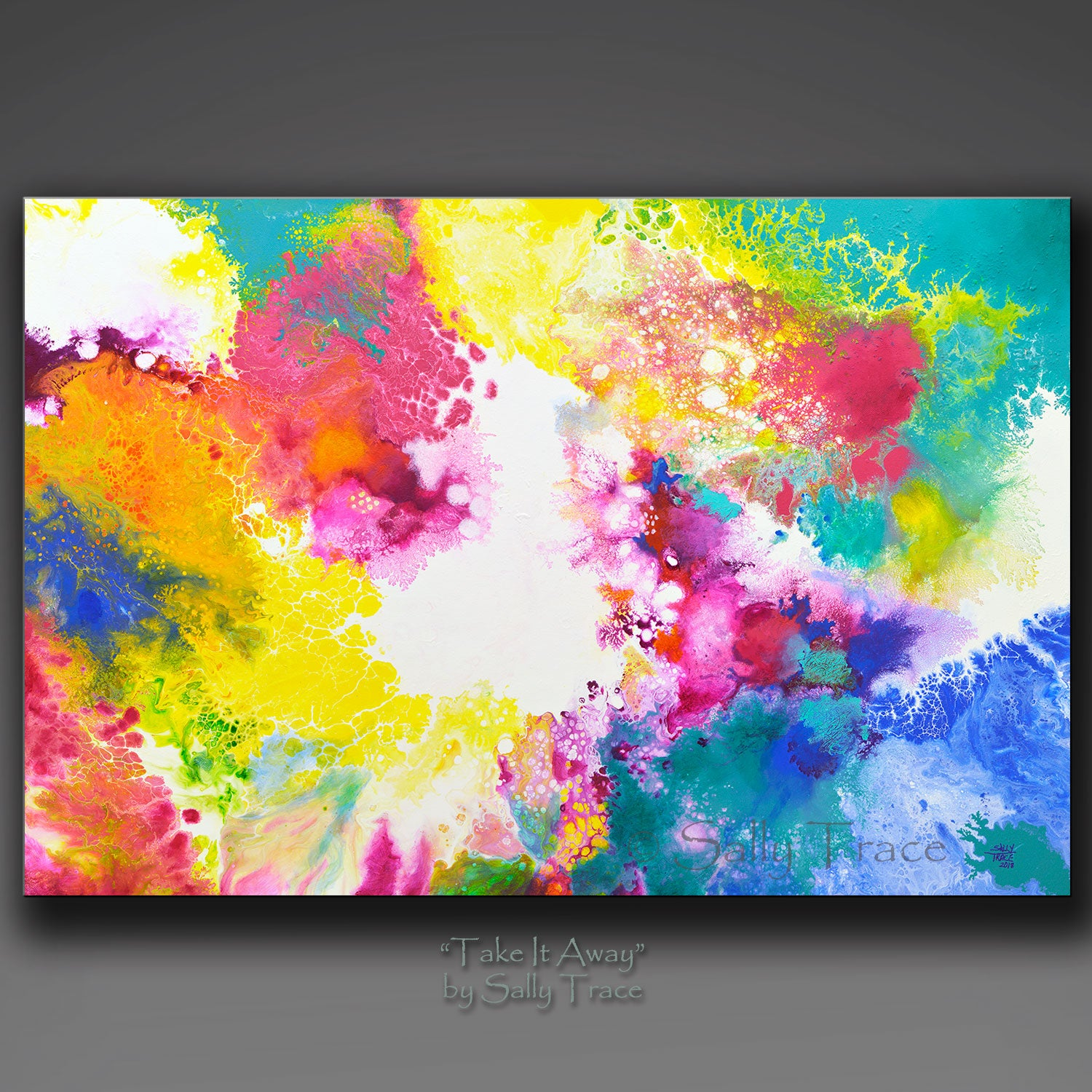 """Take it Away"" original abstract fluid painting by Sally Trace"