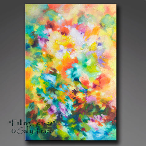 Falling Leaves, giclee print made from the original textured abstract floral painting by Sally Trace