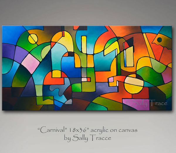 Carnival, original abstract geometric painting by Sally Trace