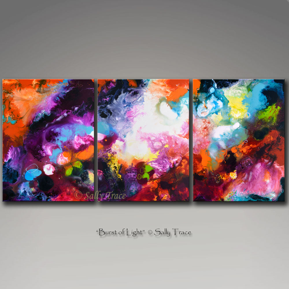 Burst of Light, pour painting art giclee print triptych by Sally Trace