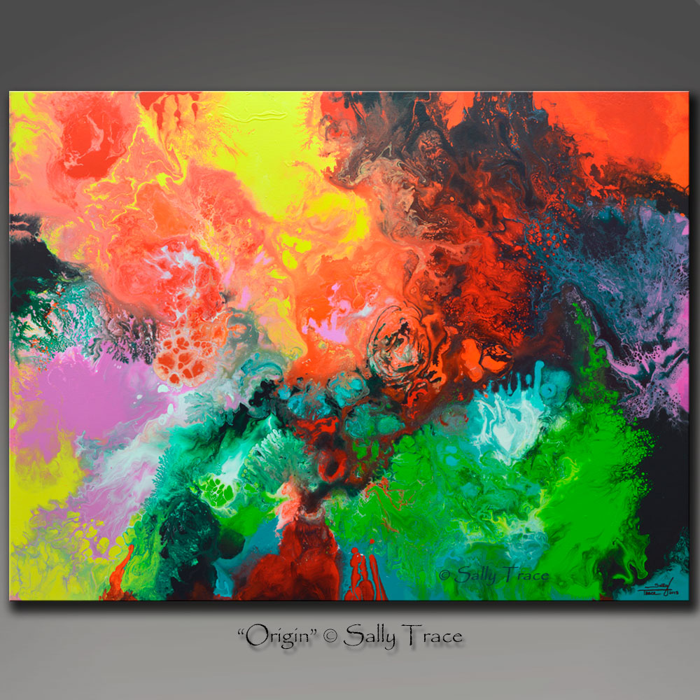 "Modern art giclee print on stretched canvas from the original fluid art painting ""Origin"" by Sally Trace, contemporary art"