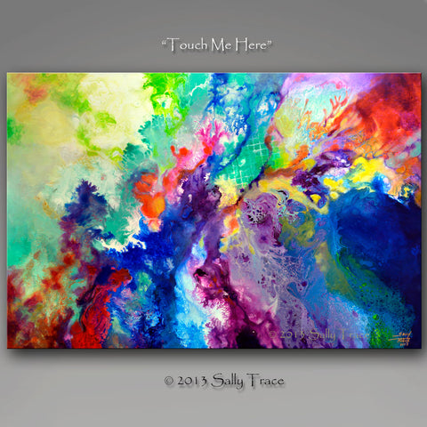 "Fluid abstract paiting prints on canvas by Sally Trace ""Touch Me Here"""