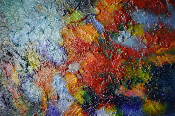 Transition, abstract textured impasto painting, detail