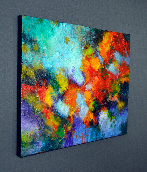 Transition, abstract textured impasto painting, left view