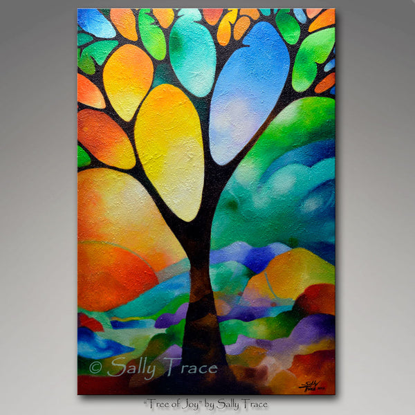 Tree of Joy by Sally Trace giclee prints on canvas