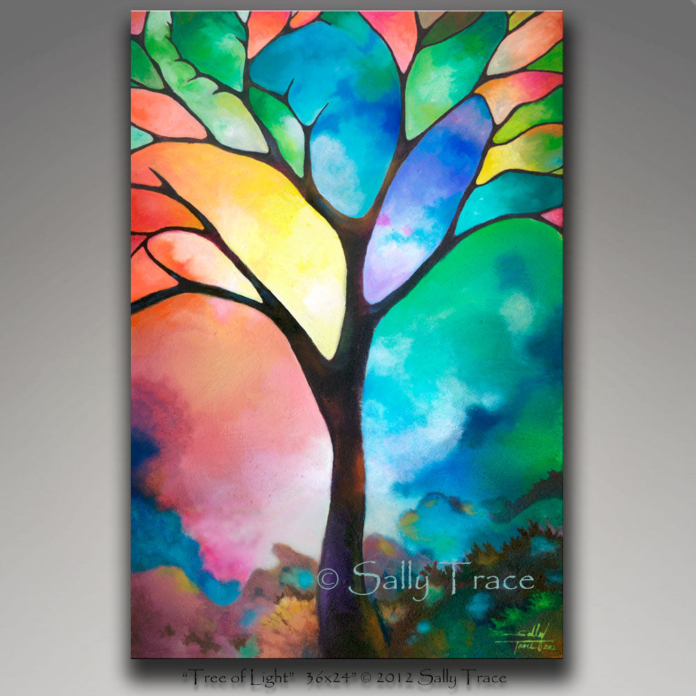 """Tree of Light"".  Original painting is sold. A beautiful abstracted painting of a tree in a landscape with a stained glass appearance.  Geometric elements in the composition.  Heavily textured with texturizing mediums. 24x36 inches, 1.5 inch deep canvas, sides painted black, varnished, COA, wired.  © 2012 Sally trace, all rights reserved."
