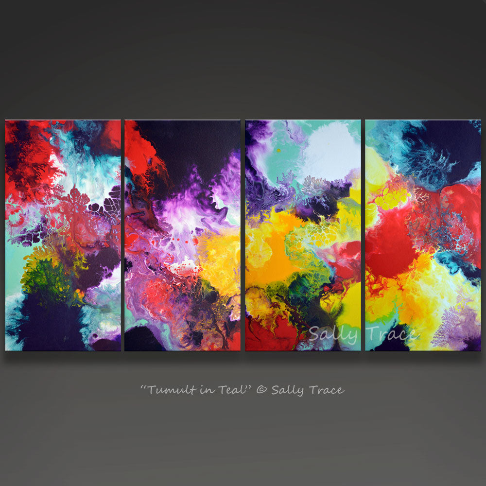 Contemporary four canvas giclee print set by Sally Trace