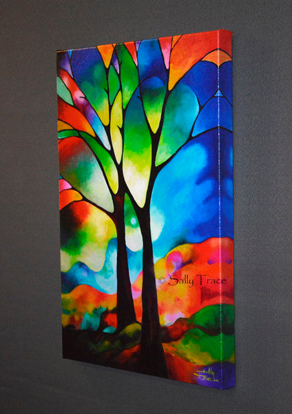Two trees giclee prints by Sally Trace, from the original abstract painting, 16x24 inch